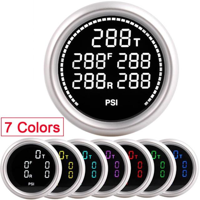 Car Air Suspension Gauge 7 Colors 20Bar 290PSI Air Pressure Boost Air Ride Gauge With 5pcs 1/8NPT Electrical Sensors racing