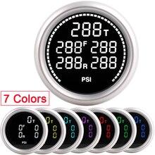 Medidor de suspensão a ar do carro 7 cores 20bar 290psi pressão ar impulso passeio de ar com 5pcs 1/8npt sensores elétricos corrida