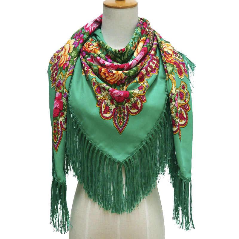 Mode Russische Vrouwen Kwastje Vierkante Sjaal Lady Gedrukt Bloemen Korte Kwastje Hoofdband Retro Cape Wrap Sjaals 135*135cm