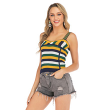Summer Women Colorblock Striped Tank Top Casual Knitting Sleeveless Short Vest