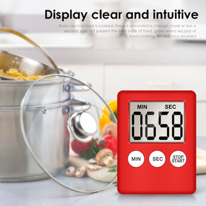 1 pcs 8 Cores Super Thin LCD Digital Screen Kitchen Timer Square Cooking Count Up Countdown Alarm Magnet Clock Temporizador(China)