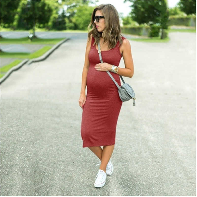 Bunvel Casual Mutterschaft Gerade Kleid Einfarbig Schwangere Damen Schwangerschaft Kleidung Sommer Frühling Mutterschaft Kleid