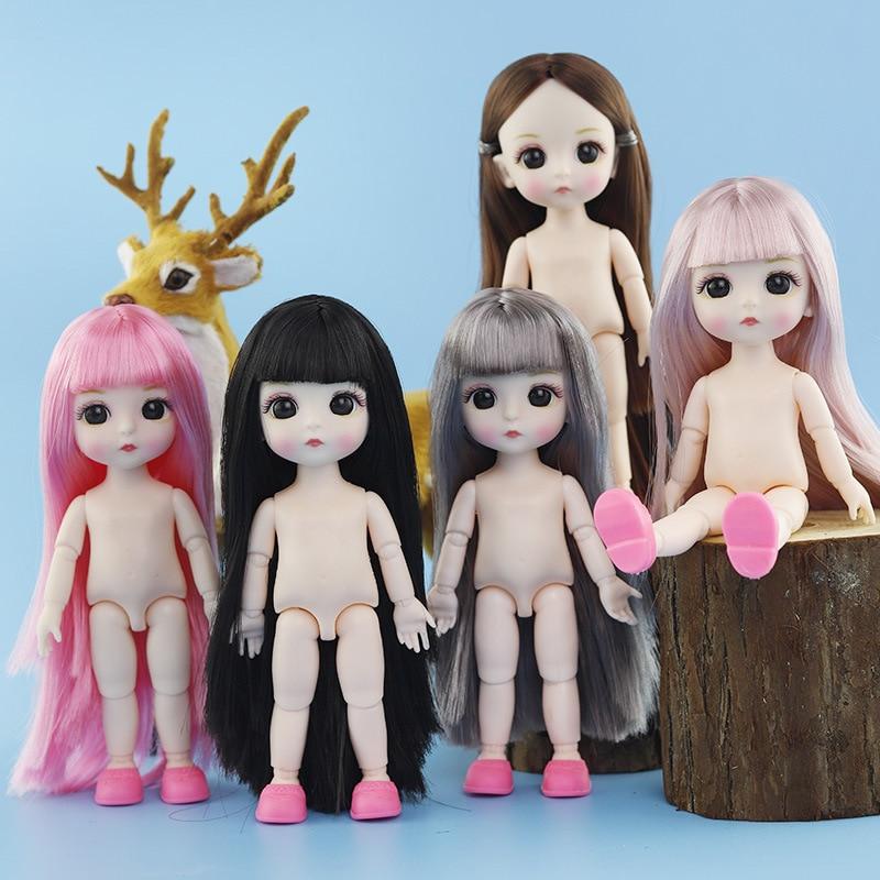 16 см BJD красивая кукла принцессы, детские куклы, аксессуары, 3D глаза, 13 суставов, подвижное телесное тело, DIY кукла для волос, игрушки для девоч...