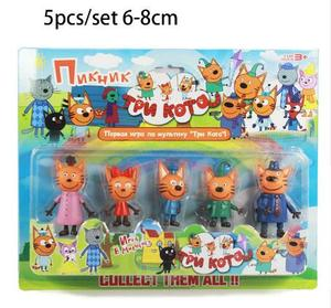 Image 2 - 2019 New Hot 5pcs Happy Three Kitten Russian Action Figure Toy kid Cats e Cat Model Doll Kid Toy Children Christmas Gift
