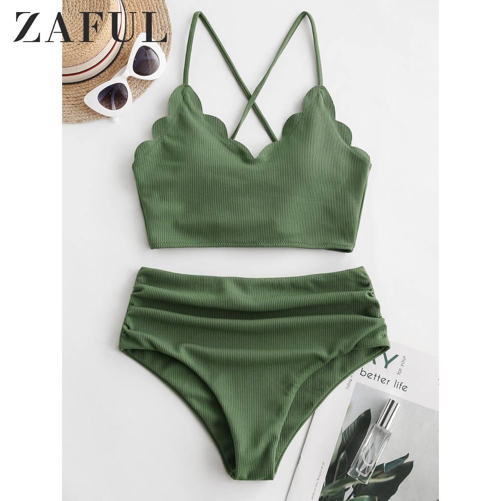 ZAFUL Women Ribbed Scalloped Lace Up Ruched Tankini Swimwear High Waisted Spaghetti Straps Wire Free Tankini Sets Sexy