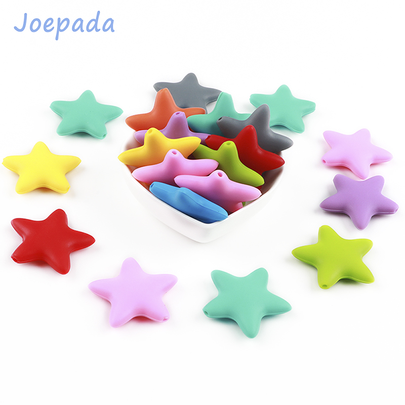 Joepada 10Pcs Star Silicone Baby Teething Beads Food Grade Material For DIY Baby Teething Necklace Oral Care Baby Teether