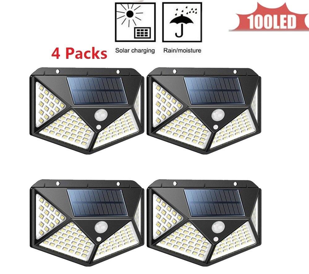 100 LED Solar Power Street Light PIR Motion Sensor Lamps Garden Security Lamp Outdoor Street IP65 Waterproof Wall Lights 4 Sided
