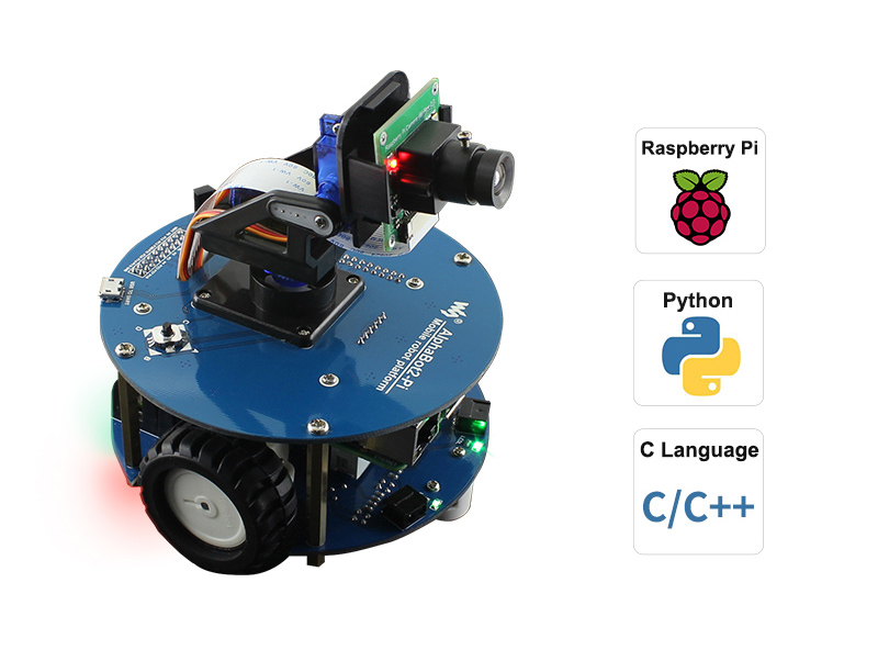 AlphaBot2 Wireless Video Smart Robot, Powered By Raspberry Pi 4 Model B US/EU Power Plug