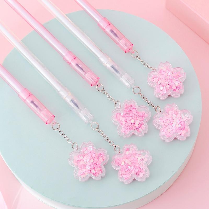 4 Pcs/lot Cherry Blossom Sequins Pendant Black Ink Gel Pen Signature Pen Escolar Papelaria School Office Supply Promotional Gift