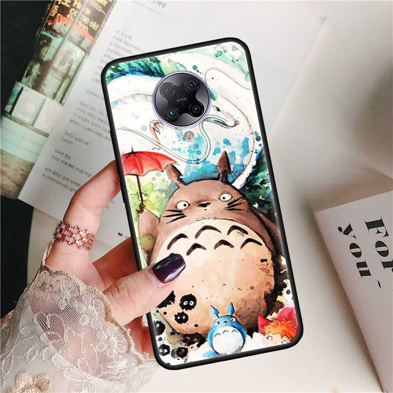 Black Tpu Capa For Xiaomi Mi Note 10 9T Pro 5G Poco F2 X2 F1 CC9 9 SE A3 A2 Lite Fundas Soft Cases Studio Ghibli Spirited Totoro