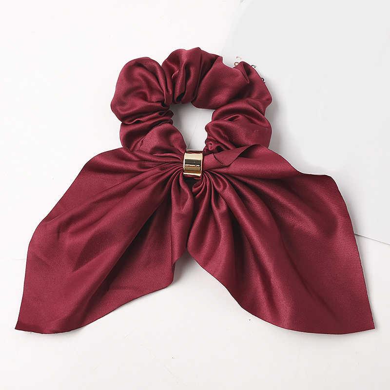 Elástico de rabo de cavalo de cetim em cor lisa, fivela de metal, elástico para cabelo, laços de coelho, orelhas, acessórios para cabelo