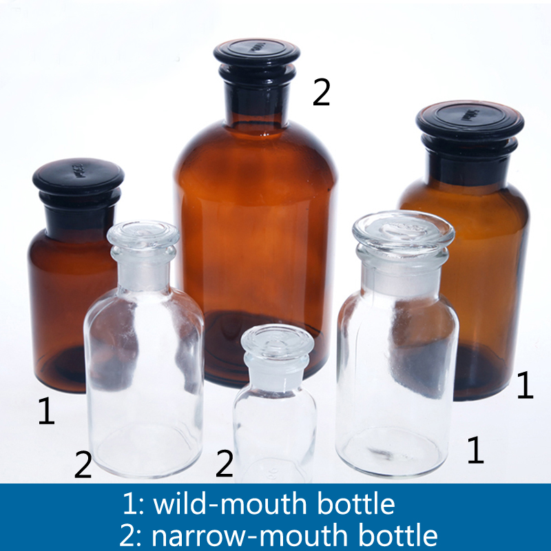 2 Pieces/pack 60mL-500mL Wid/Narrow Mouth Transparent/Brow Glass Reagent Bottle Laboratory Canning Jar Wild-mouth Bottle