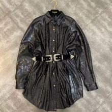 Koszula damska wiosna 2020 nowa z klapami z długim rękawem odblaskowa cekinowa koszula w pasie z paskiem tanie tanio PAFUTIN Poliester Stałe Kobiety Pełna S M L REGULAR Skręcić w dół kołnierz Skrzydeł Suknem High Street Black champagne