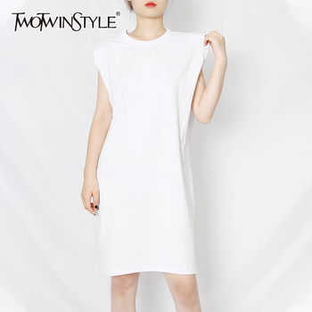 TWOTWINSTYLE Casual Minimalist Dress For Women O Neck Sleeveless Knee Length Loose Dresses Female Summer Fashion New Clothing new slender and large size printed dresses for women in summer of 2019 fashion new type a medium length dress sexy top
