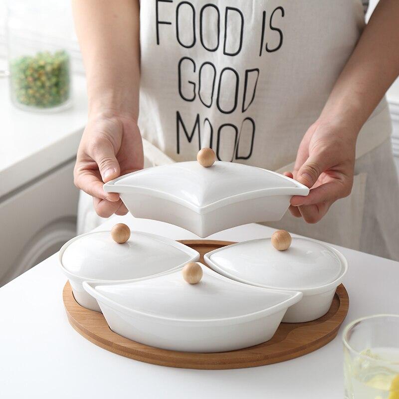 Деревянная крышка керамический поднос для сухофруктов разделенный поднос для закусок креативный поднос для домашних гаек для гостиной простой дневной закуска к чаю поднос|Блюдца и тарелки|   | АлиЭкспресс