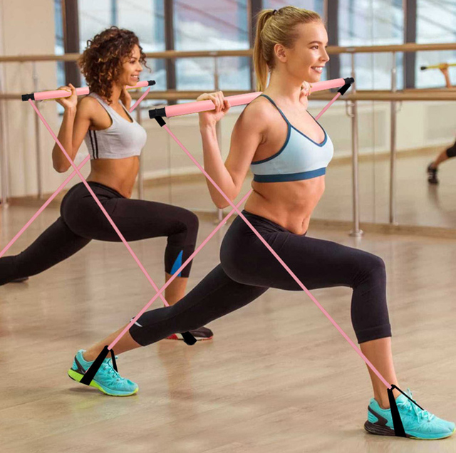 Fitness Multi-functional Yoga Pull Rods Portable Gym Pilates Bar Resistance Band Trainer Pilates Bar Gym Stick Workout 1