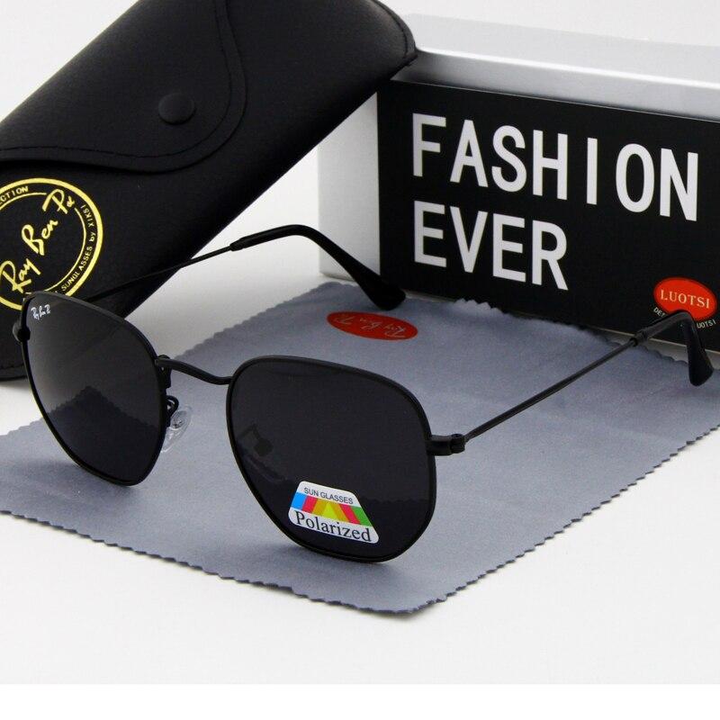 Классические шестиугольные солнцезащитные очки 2020, Мужские поляризационные синие солнцезащитные очки, мужские брендовые дизайнерские очк...