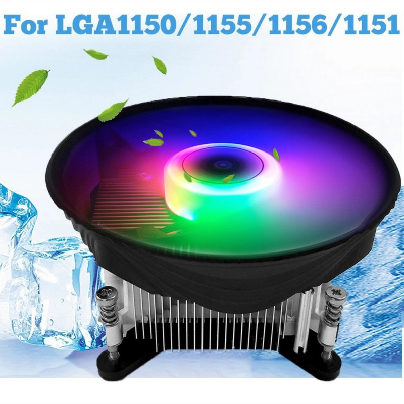 Practical Ultra Silent LED Case Cooler Fan Gaming PC Computer CPU Cooler Cooling PC For Intel LGA 1150/1151/1155/1156/1366 image