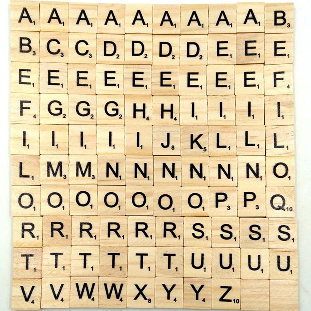 100Pcs Wooden Name  Word Handcraft Number Alphabet  Scrabble Scrapbooking Letter Set Complete