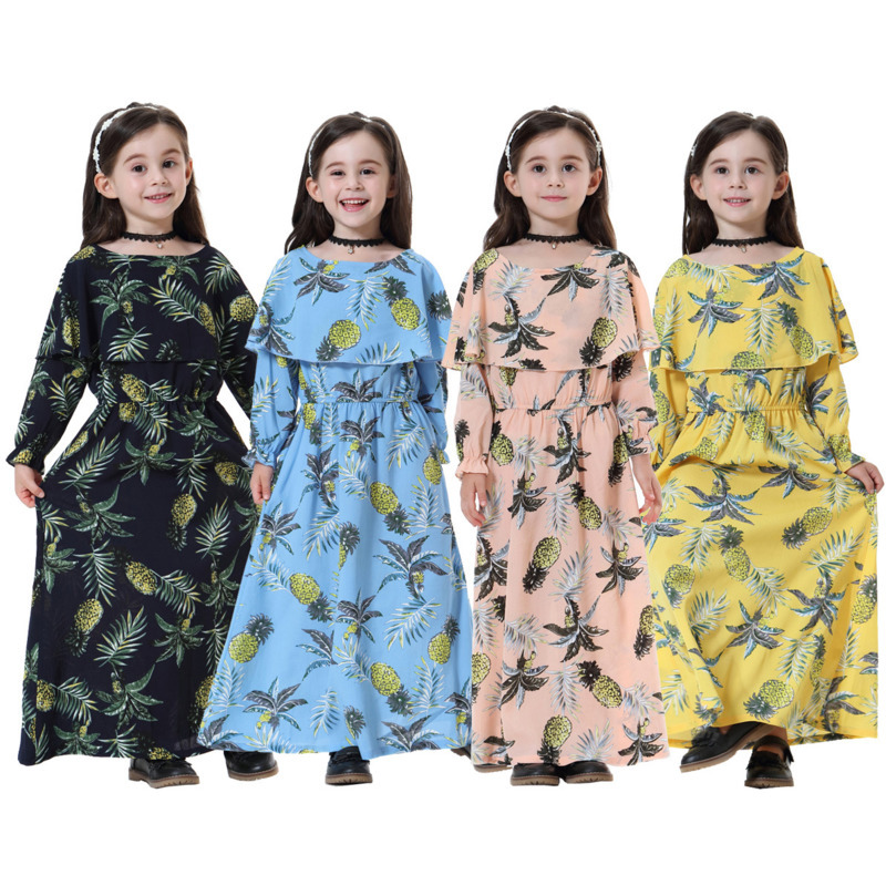 Kids Islamic Dress Muslim Children Abaya Dresses Girl Long Dress Turkeys Kaftan Dubai Dress Pakistani Indonesia Bangladesh Baby Kids cb5feb1b7314637725a2e7: Navy blue dress|pink colour dress|Sky blue dress|Yellow dress
