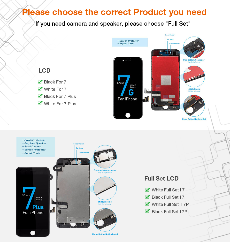 Hcb05aea69a0845c88d382ae71e51c29bO 1Pcs OEM LCD For iPhone 7 7 Plus Display Full Set Digitizer Assembly 3D Touch Screen Replacement +Front Camera+Earpiece Speaker
