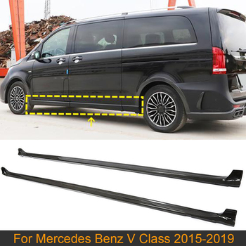 Car Body Kits Side Skirts For Mercedes-Benz V Class V250 V220d 2015-2019 Side Door Skirts Extension Lip Aprons Carbon Fiber image