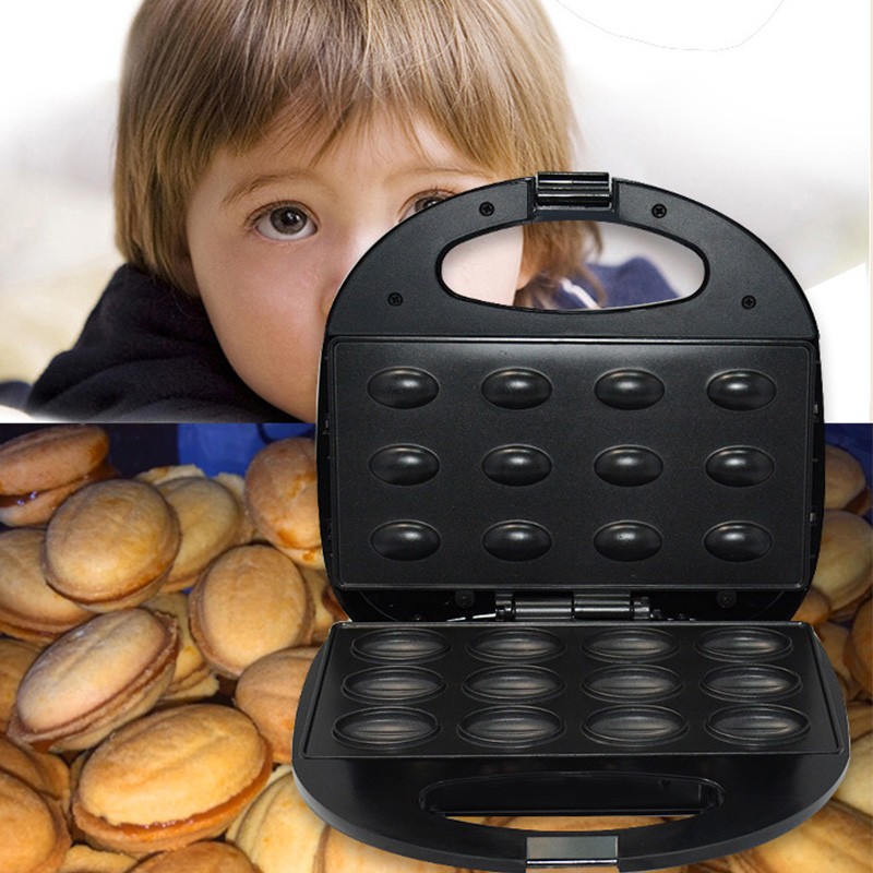 220V Electric Walnut Cake Maker Automatic Mini Nut Waffle Bread Machine Sandwich Iron Toaster Baking Breakfast Pan Oven EU Plug