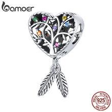 Bamoer Charm albero della vita in argento per bracciale originale vero argento Sterling 925 colorato CZ gioielli che fanno perline donne SCC1768