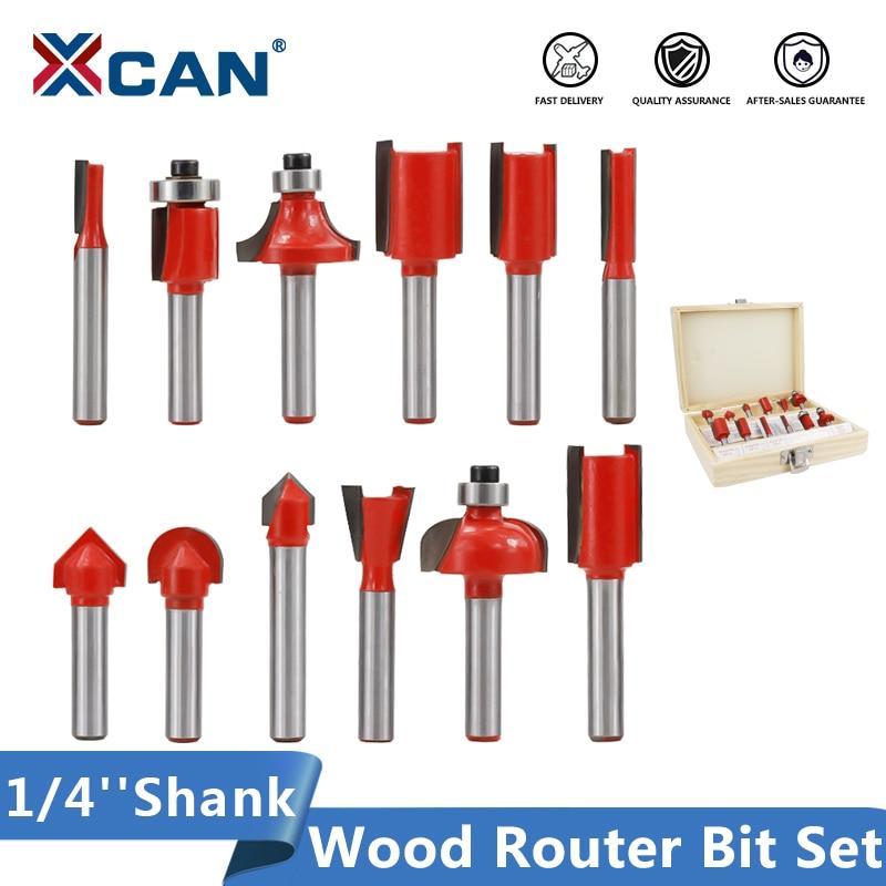 XCAN деревообрабатывающий бит хвостовик 1/4 ''(6,35 мм) подшипник направляющий фрезерный бит Карбид Набор для фрезерования древесины