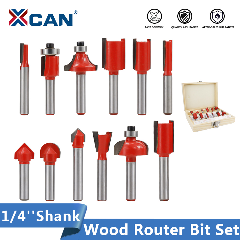 XCAN Wood Router Bit Shank 1/4''(6.35mm) Bearing Guided Milling Bit Carbide Wood Milling Cutter Set