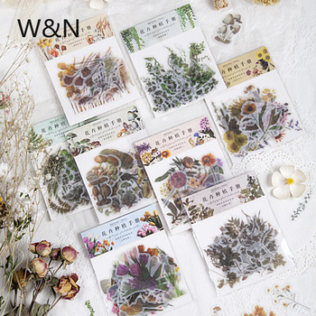 40pcs/bag Kawaii Plant Scrapbook Stickers DIY Diary Journal Vintage Natural Flowers Leaves Decoration Stickers Cute Stationery custom logo vintage scrapbook journaling stickers cute aesthetic kawaii bullet journal diary decoration planner sticker flakes