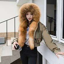 Chegada frete grátis feminino inverno moda casaco curto jaqueta gola de pele de raposa real natural forro de pele de ovelha