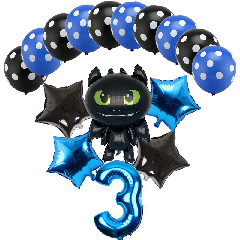 16pcs Cartoons Dragon Balloons 32 Inch Number Helium Ballon Happy Birthday Party Decorations Kids Toy Globos Baby Shower Ball