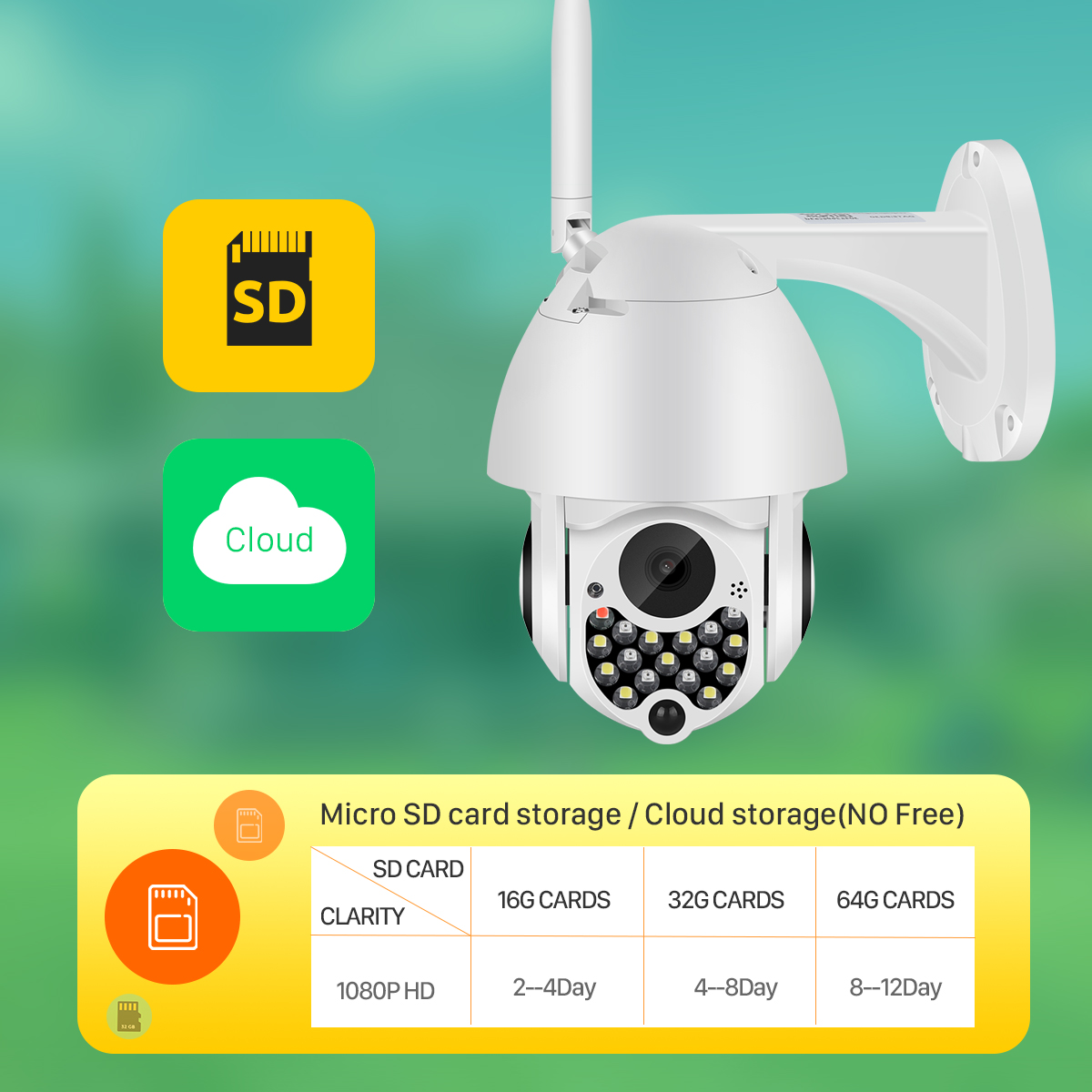 Hcb061e1027c54dd69af9674f1f0bfa4cs 1080P Outdoor Wifi PTZ Camera with Siren Light Auto Tracking Cloud Home Security IP Camera 2MP 4X Digital Zoom Speed Dome Camera
