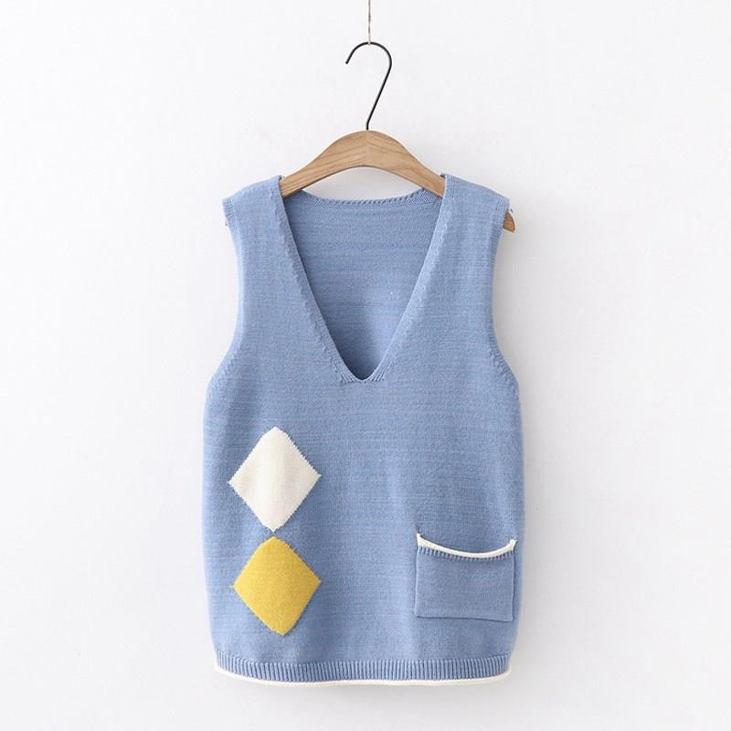 Fashion Nice Women Casual Korean Style Loose Sweater Quality V-Neck Sleeveless Knitted Vest Sweet Geometry Pockets Sweater