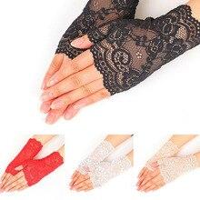 Черные кружевные перчатки без пальцев женские сексуальные зимние белые красные женские перчатки с открытыми пальцами сетчатые перчатки с подогревом женские перчатки для невесты