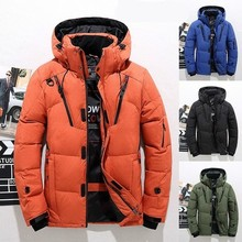 Men Winter Down Jacke Casual Zipper Hooded Pocket Long Sleeve Solid Thick Duck Down Coat Hat Detachable Quality Warm Outwear
