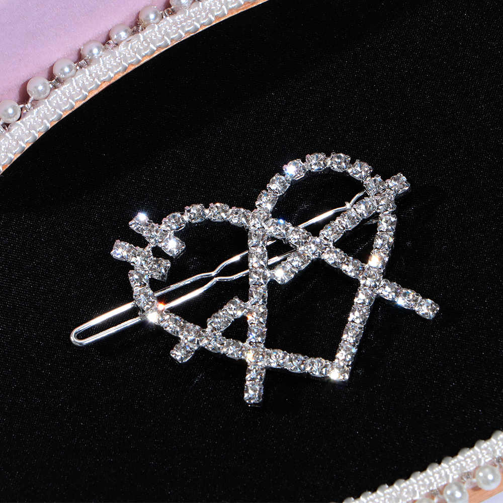 Rhinestone Heart Shape Silvery Hair Claws Women Alloy fashion Head Ornament Hot Sale Harajuku Female Accessorie Crystal Barrette
