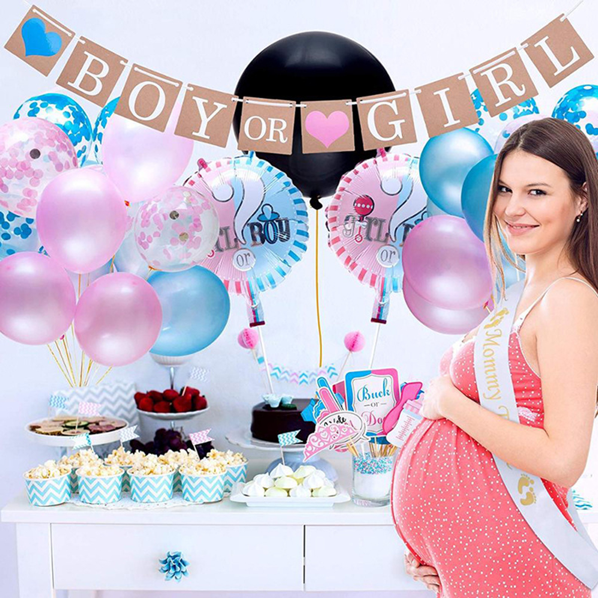 64pcs/set  Gender Reveal Balloon Party Supplies Gender Reveal Boy Or Girl Banner Confetti Foil Balloon