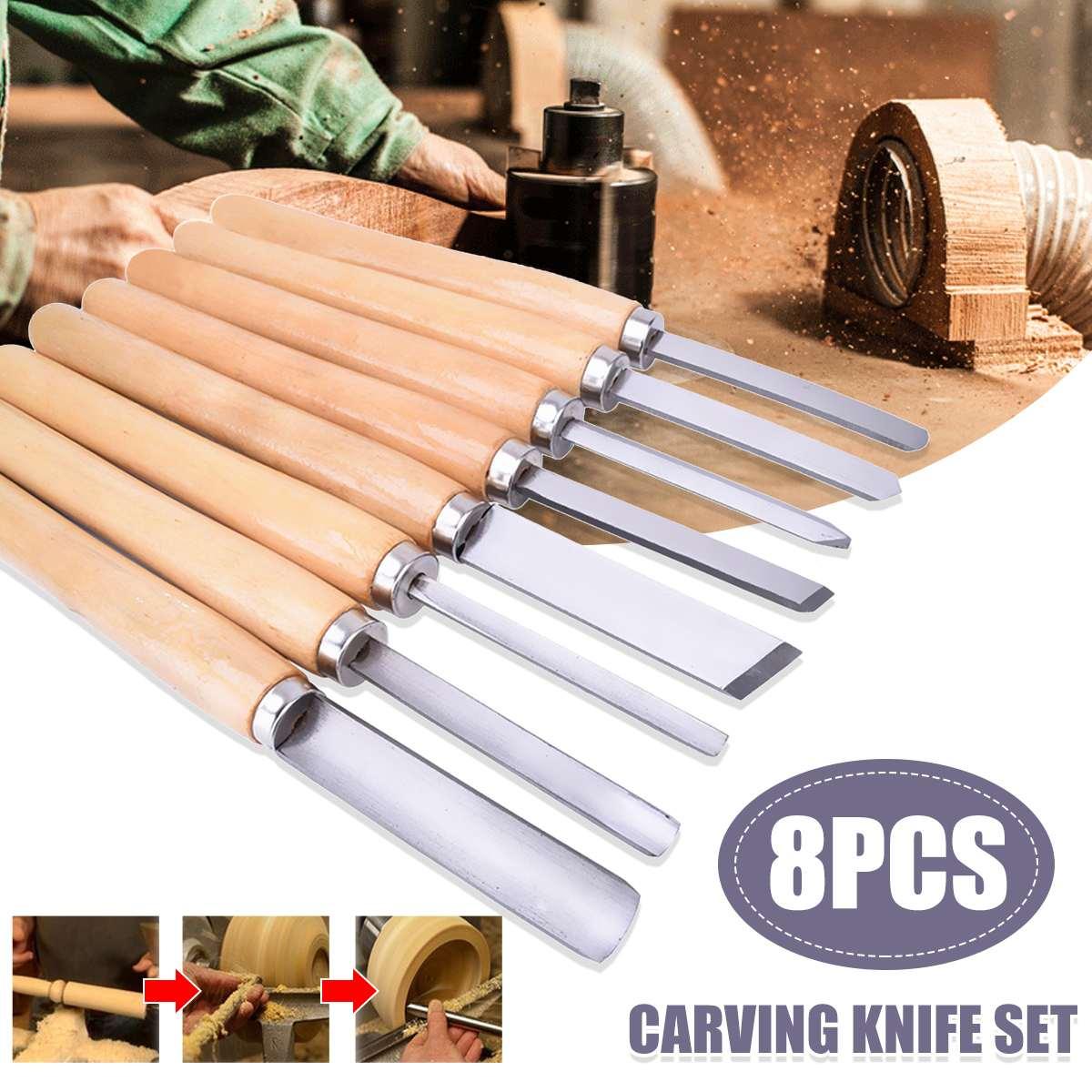 8Pcs/Set Woodworking Carving Chisel Knives Set Turning Tools Wood Craft Gouge Skew Parting Detail Chisel Handle Sculpture Knives