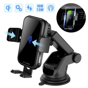 Image 1 - 10W QI Wireless Car Charger For Iphone X Samsung S10 Fast Charge Air Vent Dashboard Car Mount Auto Clamping Car Wireless Charger