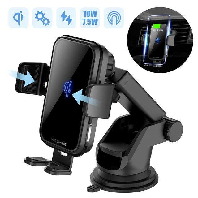 10W QI Wireless Caricabatteria Da Auto Per Iphone X Samsung S10 Carica Veloce Air Vent Cruscotto Supporto da Auto Auto di Serraggio caricabatteria Da auto Senza Fili