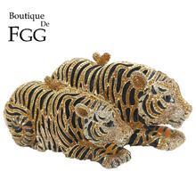 Boutique De FGG Elegant Women Gold Tiger Clutch Minaudiere Evening Bags Diamond Wedding Handbag Bridal Purse Party Dinner Bag
