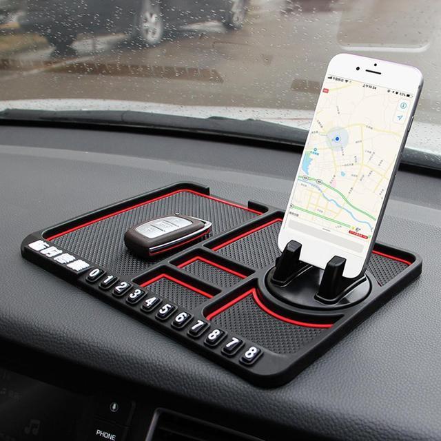 Anti slip multifuncional del tablero de instrumentos del coche de las llaves del teléfono celular Pad de soporte
