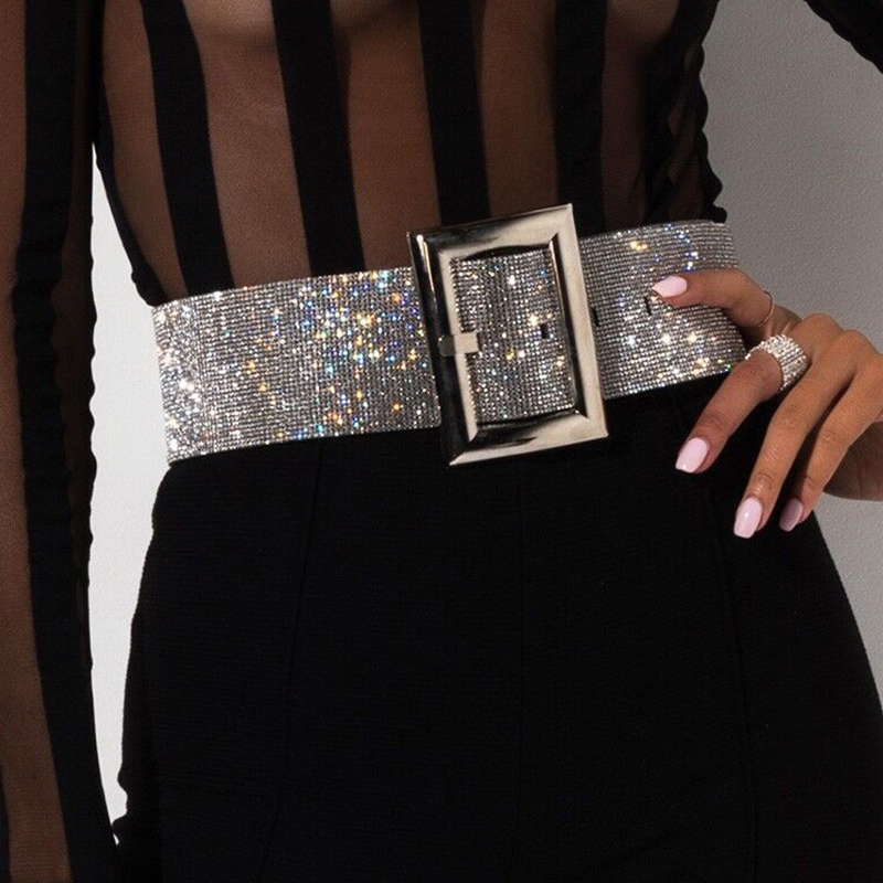 2020 Rhinestone Belt Waist Diamond Ceinture Strass Glitter Belts For Women Silver Metal Wide Gold Chain Cinturon Mujer Waistband