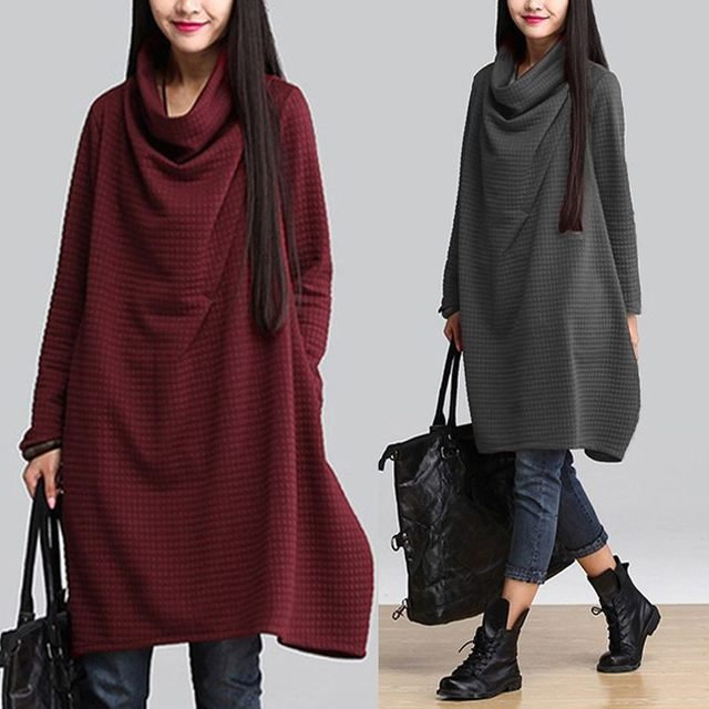 ZANZEA Plus Size Women's Dress 2019 Autumn Vintage Turtleneck Long Sleeve Sweatshirt Vestidos Female Casual Baggy Sundress 5XL