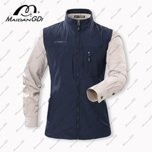 MAIDANGDI Men's Waistcoat  Jackets Vest 2021 Summer New Solid Color Stand Collar Climbing Hiking Work Sleeveless With Pocket
