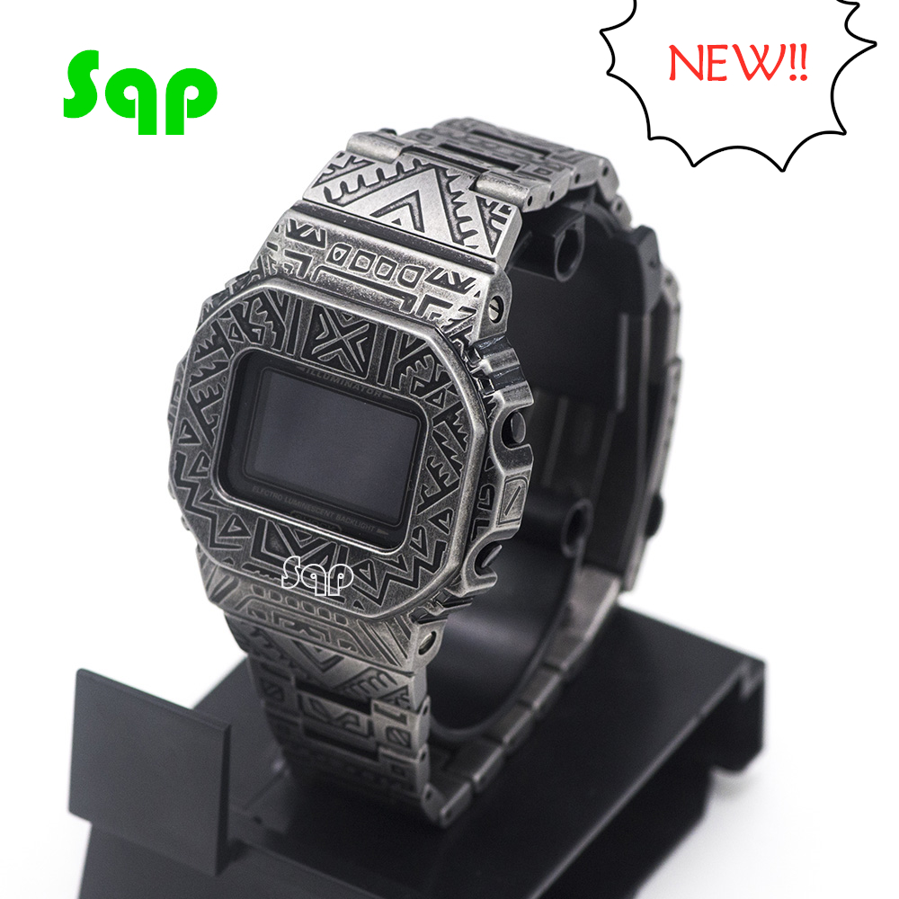 Retro Indian Carved Patterns Watch Set DW5600 GW-M5610 Bezel Strap Metal 316L Stainless Steel