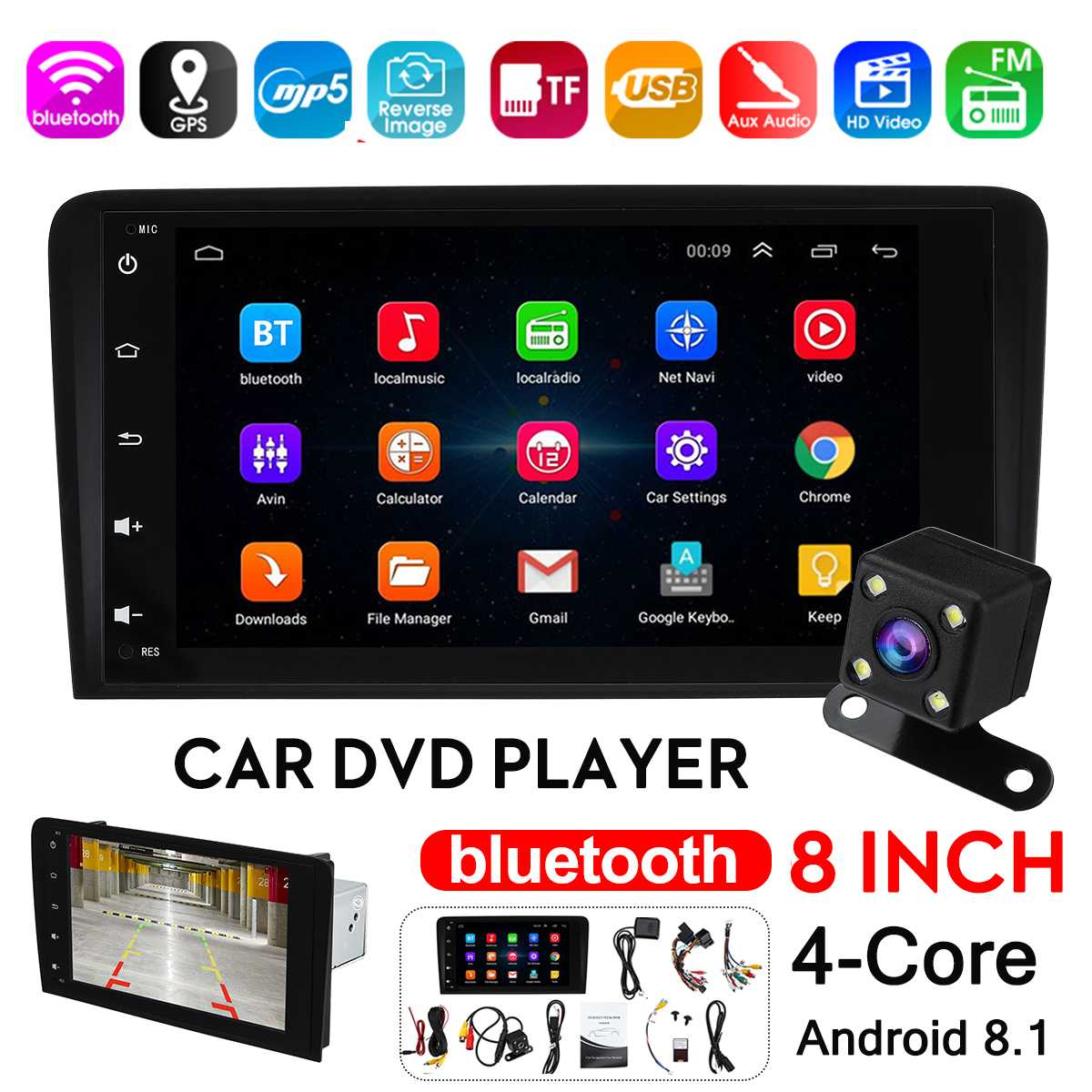 8'' Android 8.1 Car <font><b>Multimedia</b></font> Player GPS Stereo Radio DVD Player WIFI bluetooth Rear View Camera 16G for <font><b>Audi</b></font> <font><b>A4</b></font> S4 <font><b>B6</b></font> B7 image