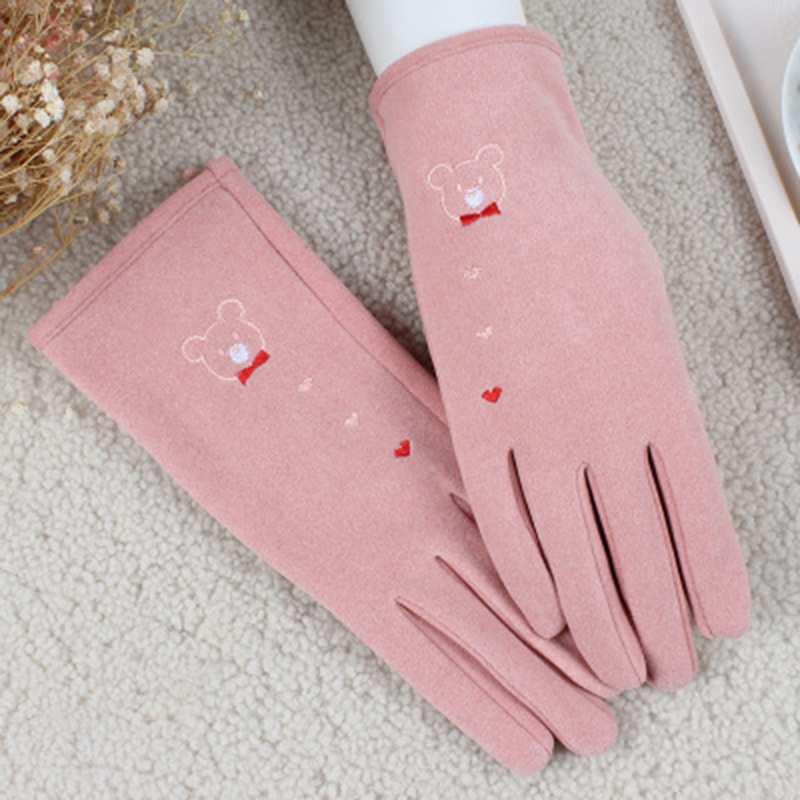 Driving Gloves Thin Cashmere Elastic Force Mittens Female Winter Cute Cartoon Bear Touch Screen Student Cycling Warm Gloves E71